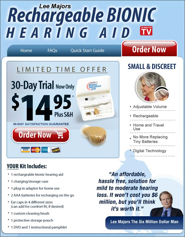 Bionic hearing aid - Rechargeable bionic hearing aid.